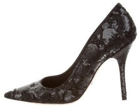 Christian Dior Sequined Pointed-Toe Pumps