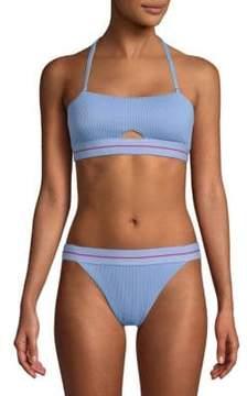 Dolce Vita Striped Cut-Out Bandeau Bikini Top