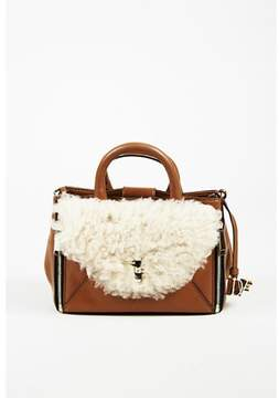 Diane von Furstenberg Pre-owned tobacco Brown Leather & Shearling Mini Secret Agent Tote.