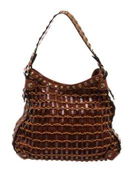 Kooba Pre Owned Brown Leather Rope Woven Studded Hobo Shoulder Bag.