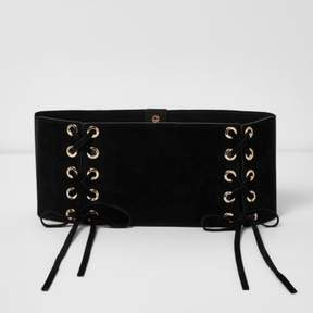 River Island Womens Black wide double lace-up belt