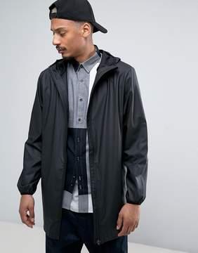 Rains Base Long Hooded Jacket Waterproof Concealed Zips in Black