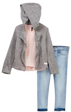 7 For All Mankind Cardigan, Tee, & Skinny Jean 3-Piece Set (Toddler Girls)