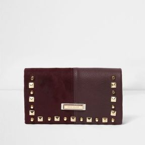River Island Womens Dark red studded foldout purse