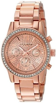 Akribos XXIV Lumin Rose Gold Crystal Pave Dial Ladies Watch