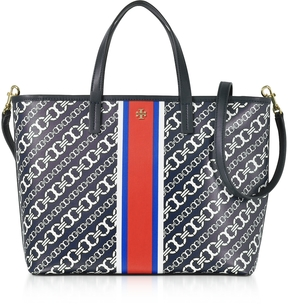 Tory Burch Gemini Link Navy Coated Canvas Small Tote Bag - ONE COLOR - STYLE