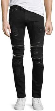 Just Cavalli Distressed Motorcycle Jeans, Black