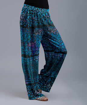 Lily Blue & Black Mosaic Palazzo Pants - Women & Plus