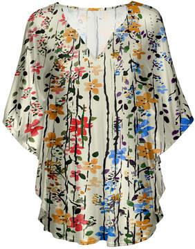 Lily Cream Floral Stripe V-Neck Tunic - Women & Plus
