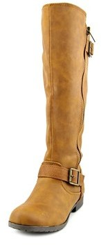 Material Girl Larisa Wide Calf Women Round Toe Synthetic Brown Knee High Boot.
