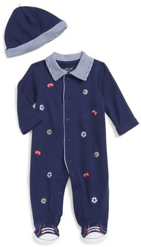 Little Me Infant Boy's Footie & Hat Set