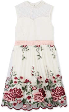 Speechless Rose Embroidered Fit & Flare Dress, Big Girls