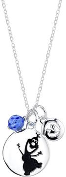 Disney Sterling Silver Frozen Olaf Pendant Necklace with 18-inch Cable Chain