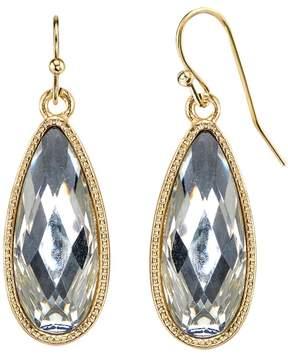 1928 Nickel Free Faceted Stone Teardrop Earrings