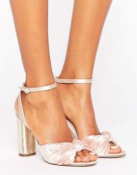 Office Blush Velvet Heeled Sandals