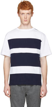 Marni White and Navy Wide Stripes T-Shirt