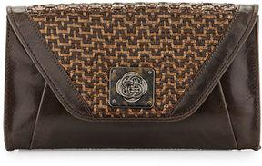 Elliott Lucca Bali Cordoba Basketweave Leather Clutch Bag, Java Mist
