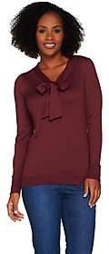 C. Wonder Tie Front V-neck Long Sleeve Sweater