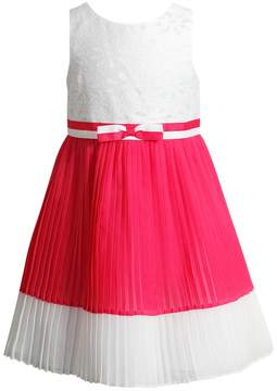 Youngland Toddler Girl White & Coral Chiffon Pleated Dress