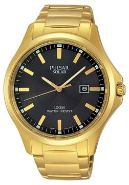 Pulsar Men's Solar Dress Watch - Gold Tone with Black Dial - PX3076