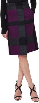 Akris Felted Optic Plaid A-Line Skirt