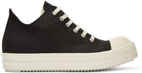 Rick Owens Black Nylon Canvas Cap Toe Sneakers