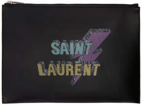 Saint Laurent Black Thunder Logo Pouch