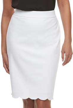 Elle Women's Scallop Hem Pencil Skirt
