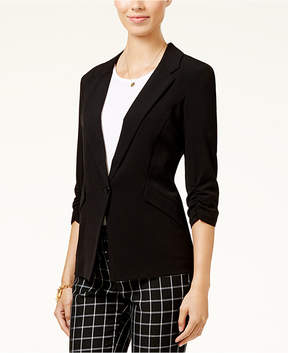 BCX Juniors' Ruched-Sleeve Button-Front Blazer