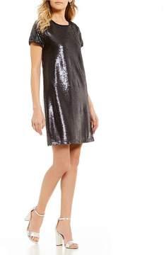 Copper Key Cap Sleeve Sequin Dress