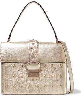 RED Valentino Studded Metallic Textured-Leather Shoulder Bag