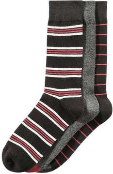 Joe Fresh Men's 3 Pack Stripe Socks, JF Black (Size 10-13)