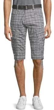 ProjekRaw Belted Printed Cotton Cargo Capris
