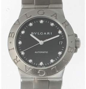 Bulgari Bvlgari Lcv35S Diagono Stainless Steel Black Dial With Diamonds Watch