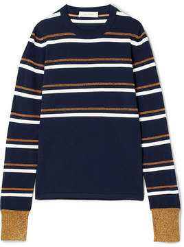 Cédric Charlier Striped Metallic Knitted Sweater - Navy