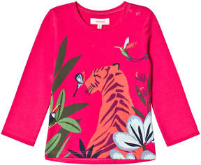 Catimini Pink Tropical Animal Print Long Sleeve T-Shirt