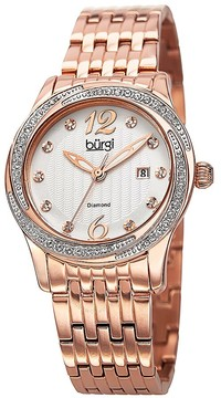 Burgi Silver Dial Rose Gold-tone Case Crystal Bezel Ladies Watch