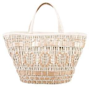 Nancy Gonzalez Woven Crocodile Basket Tote