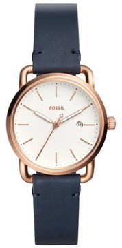Fossil Women's Commuter Leather Strap Watch, 34Mm