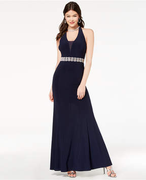 B. Darlin Juniors' Embellished Illusion Halter Gown