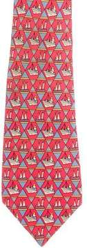 Hermes Sailboat Print Silk Tie