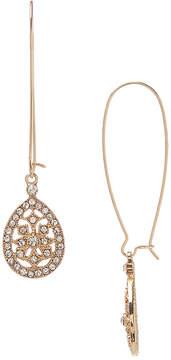 Carole Crystal & Goldtone Teardrop Threader Earrings