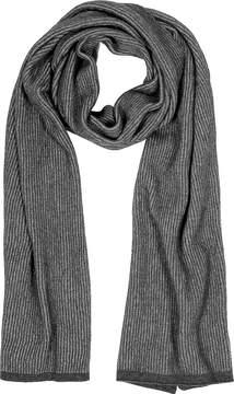 Mila Schon Gray/Black Stripe Wool Blend Long Scarf