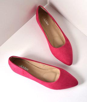 Unique Vintage Fuchsia Suede Pointed Toe Flats Shoes