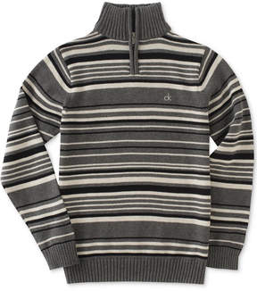 Calvin Klein Focal Stripe Quarter-Zip Cotton Sweater, Big Boys (8-20)