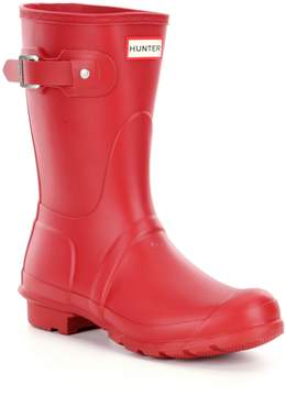 Hunter Womens Original Short Matte Buckle Strap Rain Boots