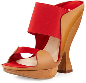 Donna Karan Sculpted High-Heel Mule, Flame Red