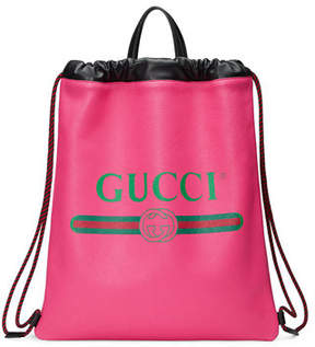 Gucci Print Leather Drawstring Backpack - WHITE - STYLE