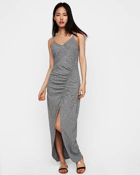 Express Slub High Slit Ruched Maxi Dress