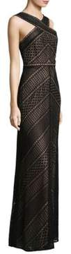 BCBGMAXAZRIA Halterneck Crisscross Lace Dress